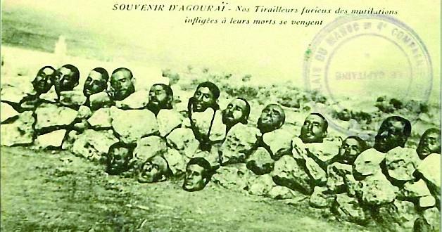 رؤوس المقاومين المقطوعة من طرف الاستعمار الفرنسي في اكوراي