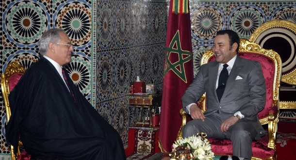 Morocco's King Mohamed VI speaks to U.N.'s new envoy to Western Sahara Ross during their meeting in Fes