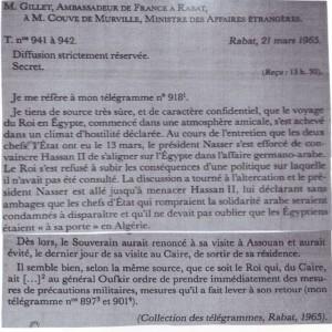 السفير الفرنسي بالرباط يخبر حكومته بما جرى بين الحسن الثاني وعبد الناصر، حتى يفطن بعض الناس إلى أن مهمة السفراء الأجانب ليست محصورة في حضور الحفلات
