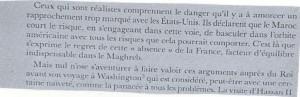 جانب من الوثيقة يشير إلى الخطر الذي شعر به بعض المغاربة جراء التقارب الأمريكي المغربي