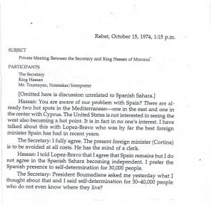 مقتطف من وثيقة أمريكية تتضمن نص الحوار بين هنري كيسنجر وهواري بومدين