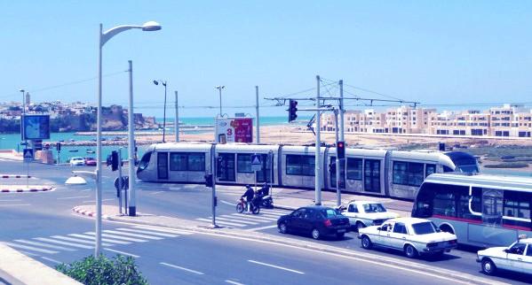 Afrique--Maroc--Rabat--berges-tramway