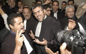 المظاهرة الاحتجاجية ضد سرحان وقد شارك فيها وزير العدل الرميد عندما كان محاميا