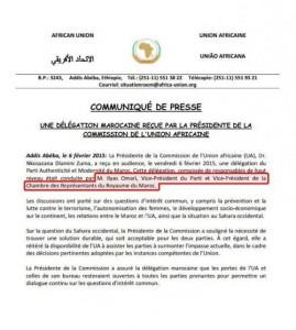 وثيقة صادرة عن الاتحاد الافريقي، الذي لا يعترف به المغرب (..) تتحدث عن الياس العماري بصفته نائب رئيس مجلس النواب، لماذا سكت السلك الدبلوماسي ..